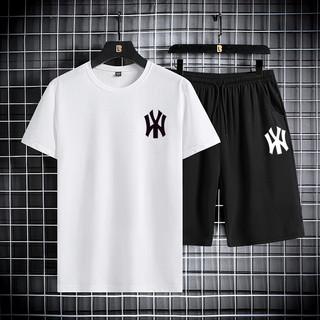 dabaosen夏季短袖T恤运动套装男士韩版修身NY印花薄款时尚两件套运动套装