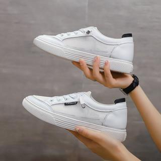 芙显小白鞋女夏网面透气网鞋薄款2021新款平底百搭休闲一脚蹬网红