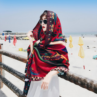 艾尤 夏季百搭披肩韩版民族风旅游丝巾海边披风沙滩巾防晒纱巾围巾女春