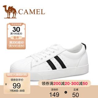 CAMEL 骆驼 女鞋小白鞋 时尚青春个性女休闲鞋子 白/黑色 37