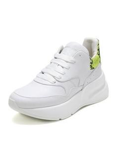 Alexander McQuee亚历山大·麦昆 女款蛇皮尾系带休闲鞋运动鞋小白鞋 586410 WHXI3