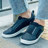 贵人鸟女板鞋低帮一脚蹬免系带春季休闲简约百搭时尚运动鞋女 -2黑/白 36