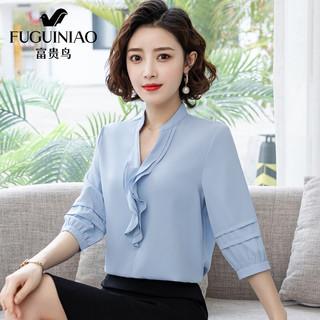 Fuguiniao 富贵鸟 FUGUINIAO)衬衫女设计感小众2021年夏季新款上衣短袖薄款女装时尚气质白色雪纺衬衣 蓝色 2XL