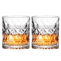 天喜(TIANXI)酒杯 玻璃威士忌啤酒洋酒杯XO烈酒杯白酒杯水杯套装创意雕花款 两只装