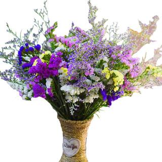 云南干花满天星 30支+紫玫粉黄+草 含细腰花篮