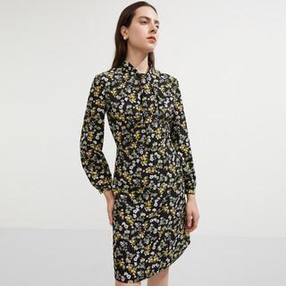 21年秋季新品休闲长袖气质碎花系带收腰连衣裙女装