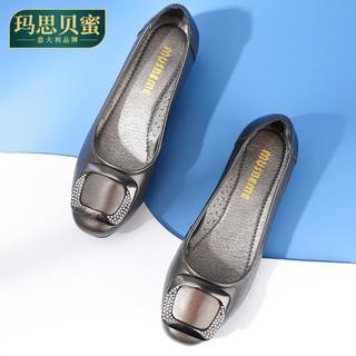 头层牛皮单鞋女中跟妈妈鞋软底浅口真皮中年大码皮鞋春秋新款女鞋