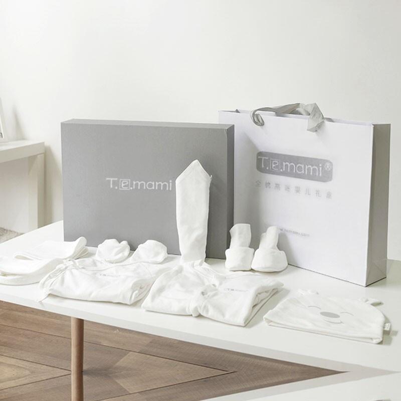 Temami新生儿礼盒婴儿衣服套装初生儿衣服全棉刚出生宝宝满月百岁礼物母婴用品四季 礼盒8件套(0-3个月)