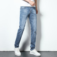 弹力男士牛仔裤直筒宽松水洗牛仔裤男 31 浅蓝色