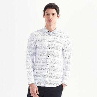 SEVEN 柒牌 个性字母印花横条纹舒适衬衣男士休闲长袖衬衫