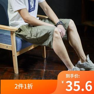 TONLION 唐狮 夏季新款港风工装短裤男潮五分裤男士短裤子夏季休闲宽松