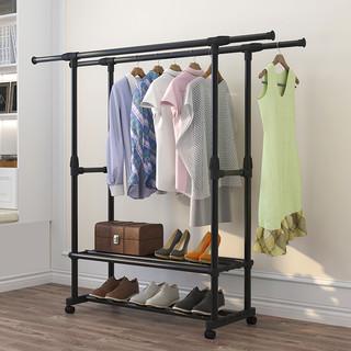 万妻 晾衣架落地卧室单杆式折叠室内双杆式晾衣杆阳台晒衣架伸缩衣架子