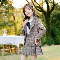 follow me 富罗迷 21年秋季新款小清新女童套装英伦风格子学院外套短裙两件套
