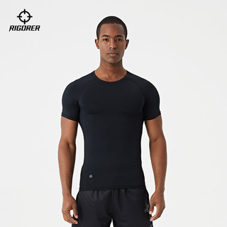 RIGORER 准者 短袖健身衣男弹力紧身衣篮球跑步锻炼压缩服运动训练打底上衣