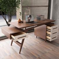 慕尼思丹 书桌 实木电脑桌 书房家具 新中式桌子 书桌+斗柜*1+电脑椅 质保六年