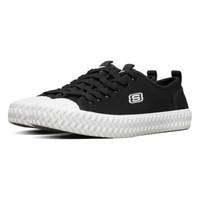 SKECHERS 斯凯奇 Skechers时尚绑带休闲帆布鞋女士小白鞋天使鞋66666262 黑色/白色BKW 36.0