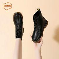 DAPHNE 达芙妮 旗下SHOEBOX鞋柜2021秋冬新款女靴复古经典马丁靴