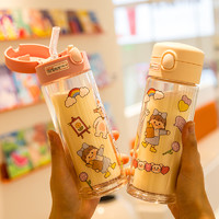 CMSH 草莓生活 可爱双层隔热带吸管玻璃水杯子夏季天女生小巧便携透明家用