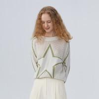 ICY 几何图案秋季新款通勤风装饰圆领套头针织衫长袖宽松镂空设计毛衣