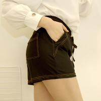 TINSINO 纤丝鸟 女士夏季高腰短裤普通梭织黑色运动简约显瘦都市时尚宽松外穿休闲裤B 黑色 L(建议拍大一码)