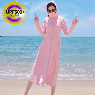 防晒衣女2021夏季新款连帽长款过膝防紫外线冰丝透气防晒服薄外套