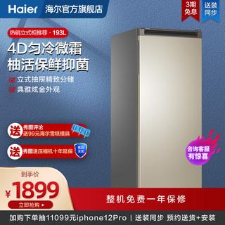 Haier 海尔 193升家用小冰柜微霜立式冷柜母乳冷冻抽屉储奶冰箱