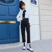 Vero Moda2020春夏复古中腰纯棉休闲直筒牛仔裤女|320332029