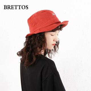 BRETTOS原创设计渔夫帽遮阳女防紫外线逛街文艺日系百搭刺绣帽子