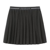 Semir 森马 半身裙女短款A字2021早春新款运动风百褶裙黑色