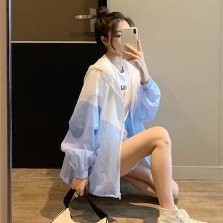 TONLION 唐狮 2021年夏季防晒服女新款韩版宽松百搭连帽撞色外套设计感小众