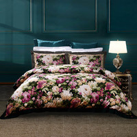 FUANNA 富安娜 40支纯棉印花被套床单床上用品全棉套件四件套