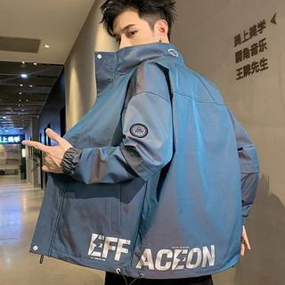 AEMAPE 爱普 夹克男士外套休闲潮流修身立领夹克衫渐变上衣服男装 2072 蓝色 XL