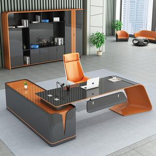 嘉航 烤漆办公桌 轻奢时尚大班台老板桌 简约现代总裁桌经理桌主管桌单人桌 3.0米老板桌