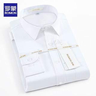 ROMON 罗蒙 长袖衬衫男士2021春秋大码衬衫商务休闲纯色斜纹小码衬衣男 白色 40