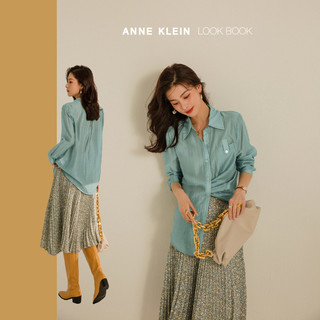 ANNE KLEIN 安妮·克莱因 复古气质单排扣衬衣女2021年秋季新款翻领长袖薄款衬衫
