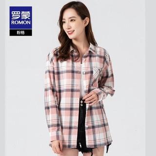 ROMON 罗蒙 女士长袖衬衫2021秋季新款纯棉百搭格子衬衣外套宽松翻领上衣