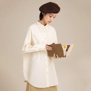 INMAN 茵曼 长袖衬衫2021秋季新款杏色纯棉花边翻领中长款宽松衬衣上衣女