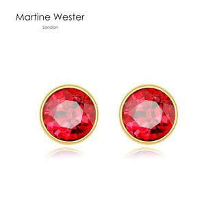 玛汀薇思水晶耳钉女 红宝石链接