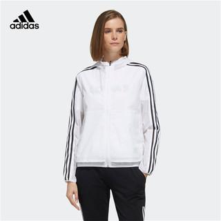 adidas 阿迪达斯 春秋季女款白色连帽防风衣跑步运动服外套女