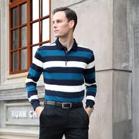 迪仕尼奴秋新品男士T恤长袖纯棉条纹打底衫商务休闲上衣