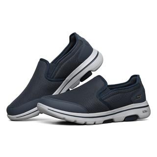 SKECHERS 斯凯奇 健步鞋休闲透气旅游鞋男士懒人一脚蹬健步鞋  216013 NVGY海军蓝色/灰色 42.5