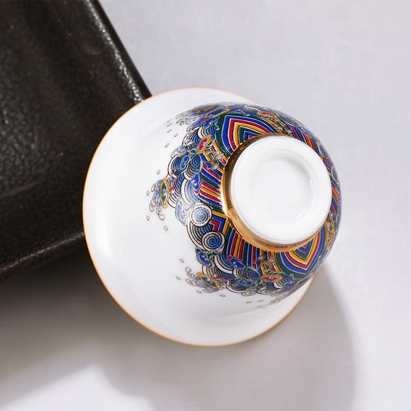 中国白银 彩瓷足银99纯银主人杯功夫茶杯鎏银茶具单人品茗银茶具
