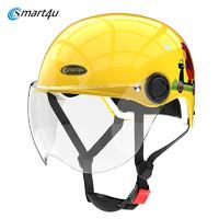 Smart4u 3C认证款儿童头盔电动车安全帽男女童小孩宝宝四季电瓶车轻便防风半盔 夏季 KH1(B719)  蜜蜂黄 均码