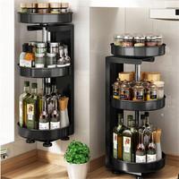 厨房专用调味品置物壁挂多功能转角台上旋转调料架子油盐酱醋收纳