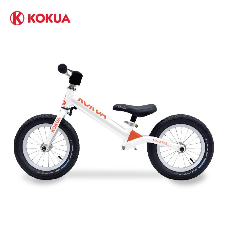 KOKUA可酷娃 12寸 儿童滑步车平衡车儿童无脚踏幼儿平衡自行车宝宝滑行车1-3岁竞技两轮车2-6岁 白橘