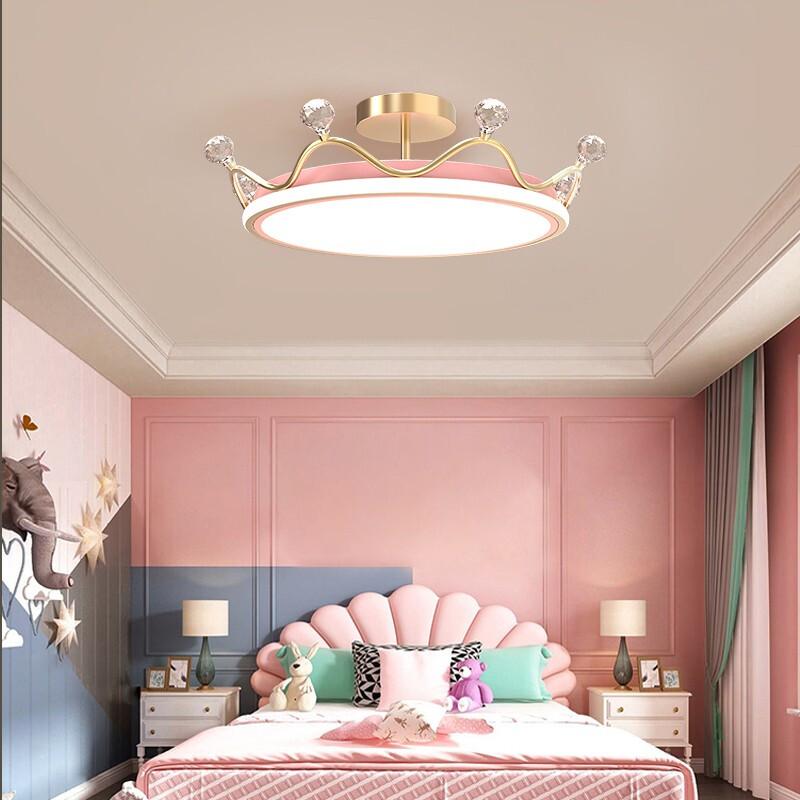 费斯(FEISS)皇冠儿童卧室房间吸顶灯创意温馨浪漫led现代轻奢次卧公主女孩房间灯 粉色直径50CM * 高15CM 三色光源