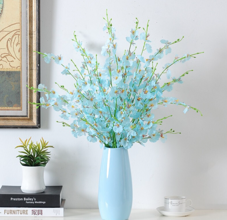 花艺赫 加大蓝色花瓶+长款蓝色跳舞兰【10支】花艺摆件陶瓷花瓶