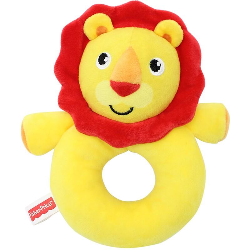 费雪(Fisher-Price) 婴幼儿毛绒玩具 宝宝卡通可爱哄睡手偶 摇铃棒 布摇铃 婴童手偶摇铃 F1035狮子安抚摇铃圈