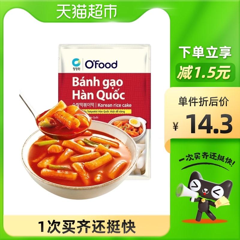 清净园速食年糕韩式风味纯米年糕条350g部队火锅辣炒年糕无料包