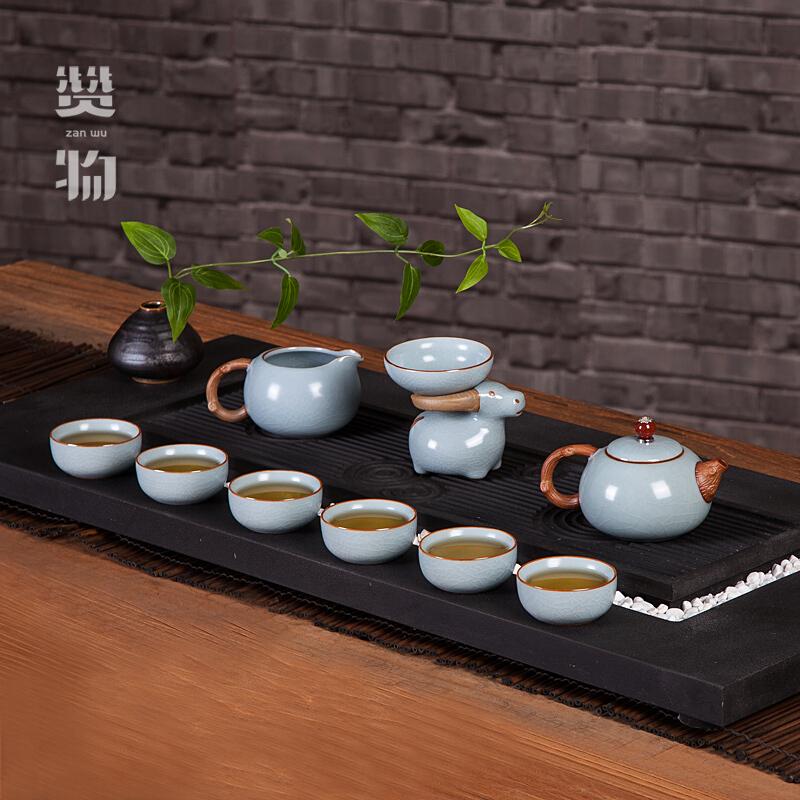 赞物 茶具套装汝窑茶具西施壶功夫茶具套装家用整套茶具陶瓷客厅简约茶壶茶杯手工开片可养礼盒装